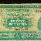 1970 Venezuela 20 Bolivares Bank Note Pick#46d Below Wholesale !