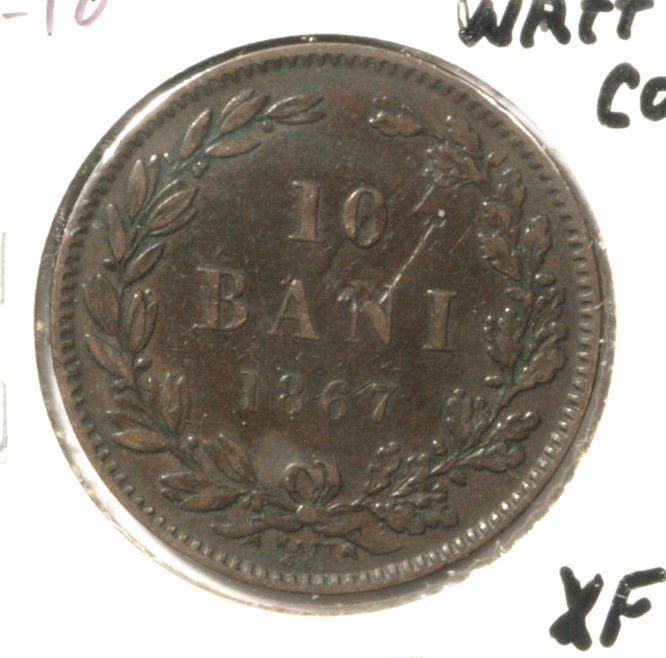 ERROR ! 1867 Romania 10 Bani Coin XF  KM# 4.2 Watt & Co. Planchet Defect Rumania