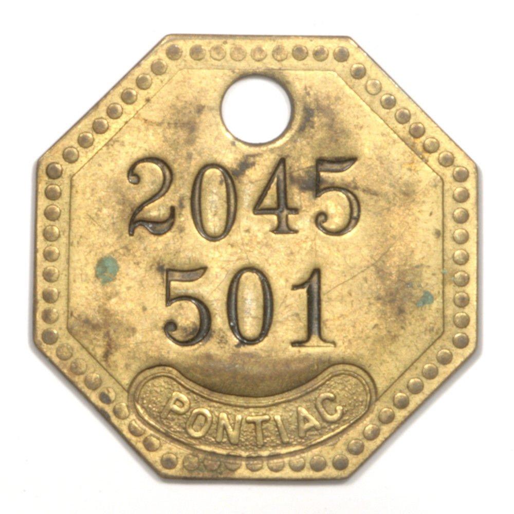 Vintage Pontiac Key Fob - Brass - 2045 501 - XF