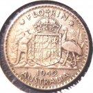 1942 Australia Silver Florin Coin KM#40     .3363 ASW