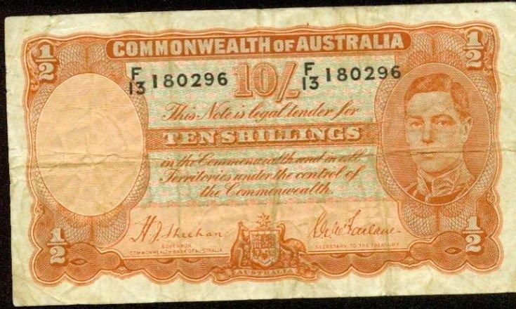 1939 Australia Ten Shillings Note Pick#25a      Manufacture