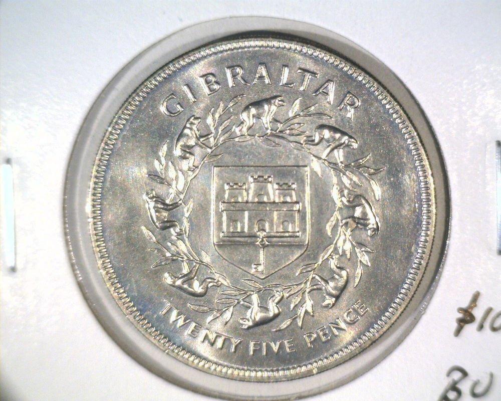 1977 Gibraltar 25 pence Coin KM#10 BU  Queen's Silver Jubilee