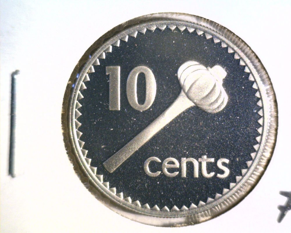 1976 Fiji 10 cents silver proof coin KM#30a  .1948 ASW  Only 3,012 Minted !