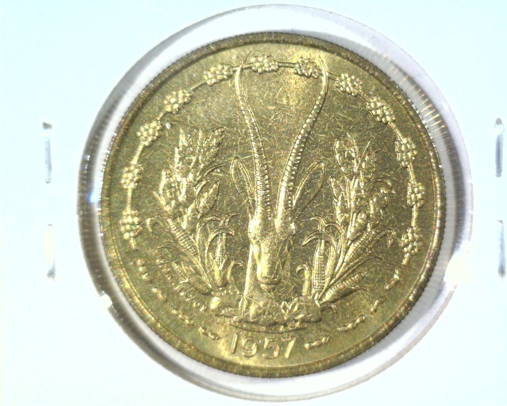 1957 French West Africa 25 francs coin KM#9    BU   Great Eland Antelope