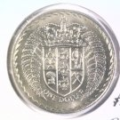 1971 New Zealand One Dollar BU Coin KM#38.2 Crowned Shield