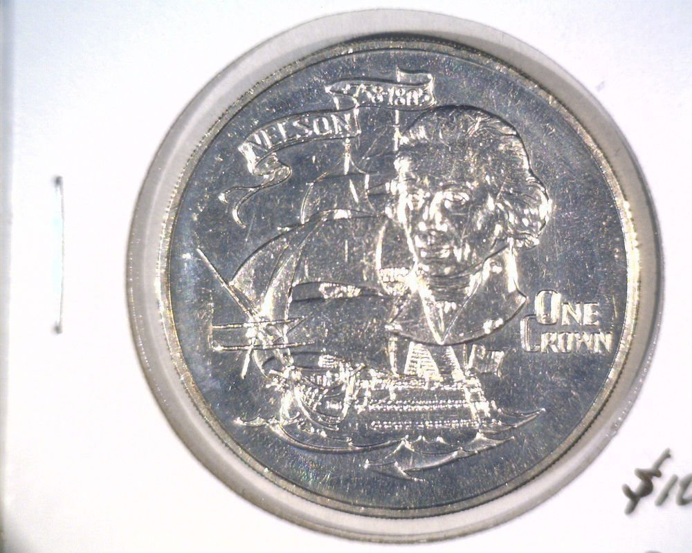 1980 Gibraltar One Crown Coin KM#12 BU Death of Nelson 175th Anniversary    Ship