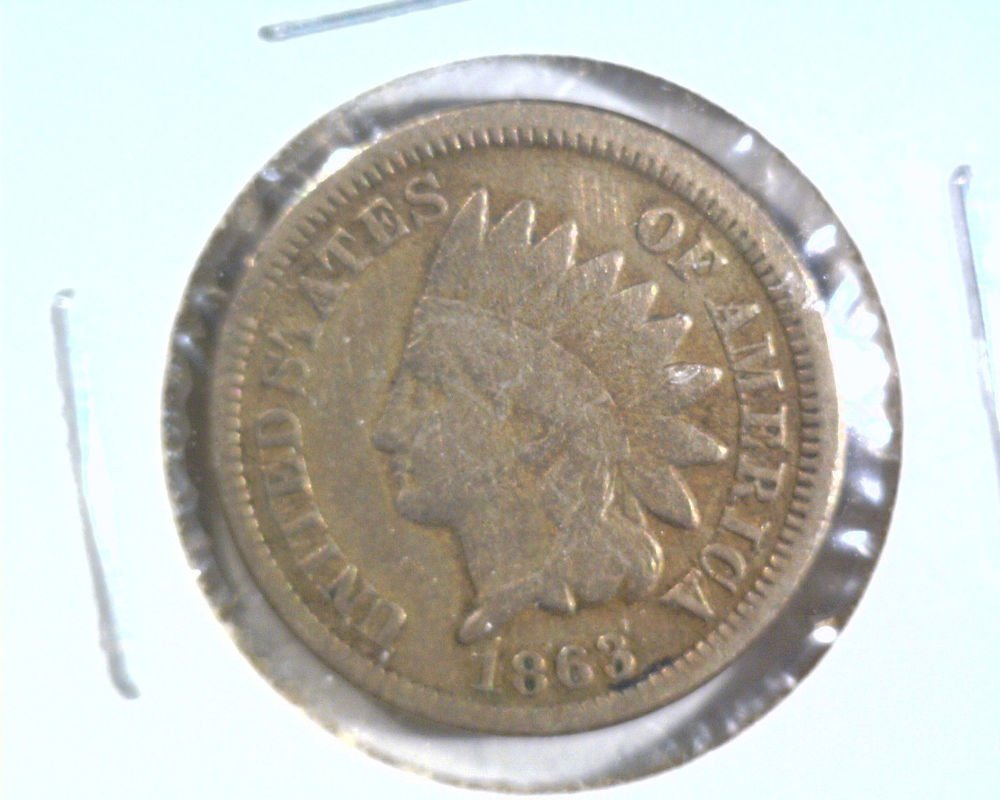 1863 Indian Head Cent Very Good Details Cleaned