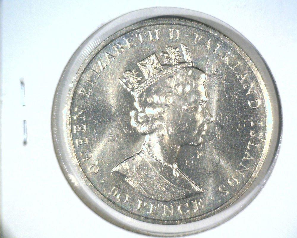 1985 Falkland Islands 50 pence coin  KM#21  BU  Mount Pleasant Airport