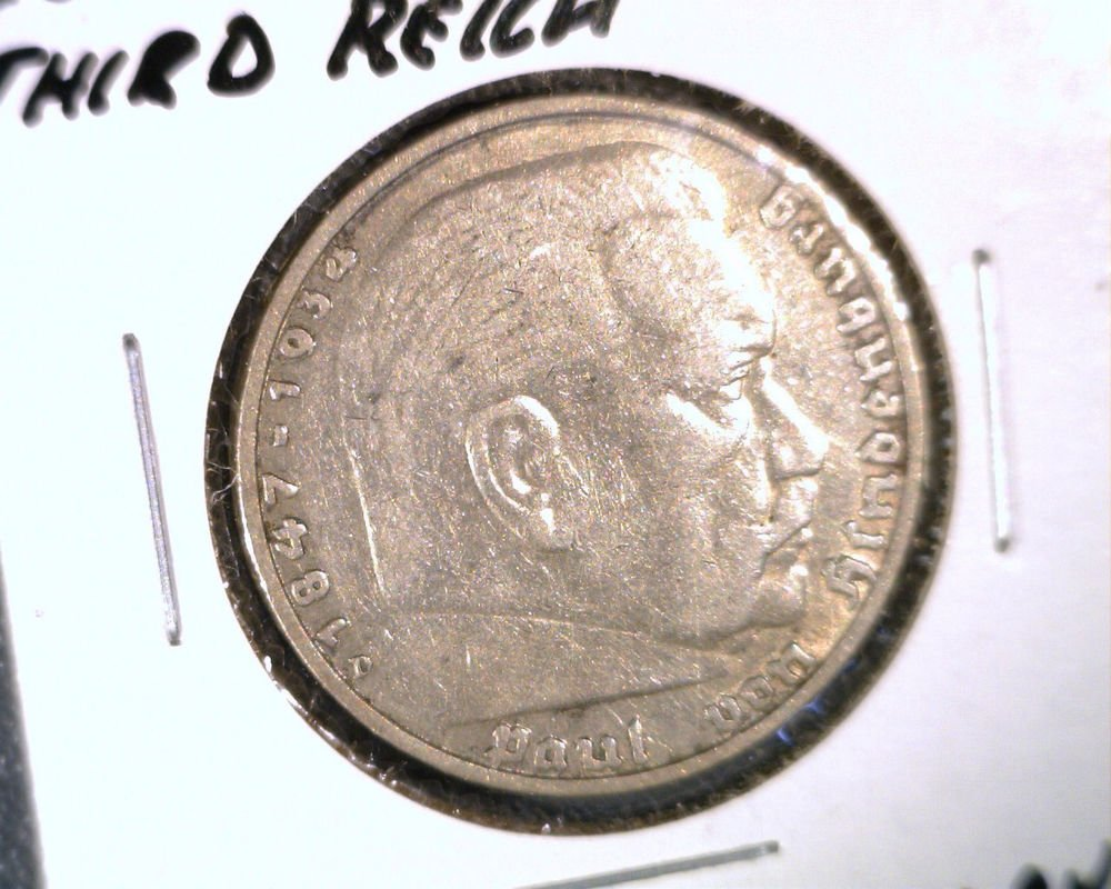 Germany 3rd Reich 1935D Silver 5 Marks Coin KM#86  Hindenburg .4016 ASW Nazi