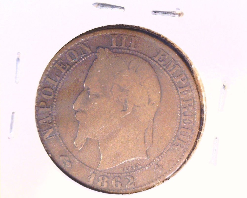 1862 BB France 5 centimes coin    KM#797.2
