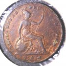1854 Great Britain Penny KM#739 Fine Details Environmental Damage / Cleaned