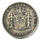 1895 Puerto Rico Silver 20 Centavos Coin KM#22   XF  .1447 ASW