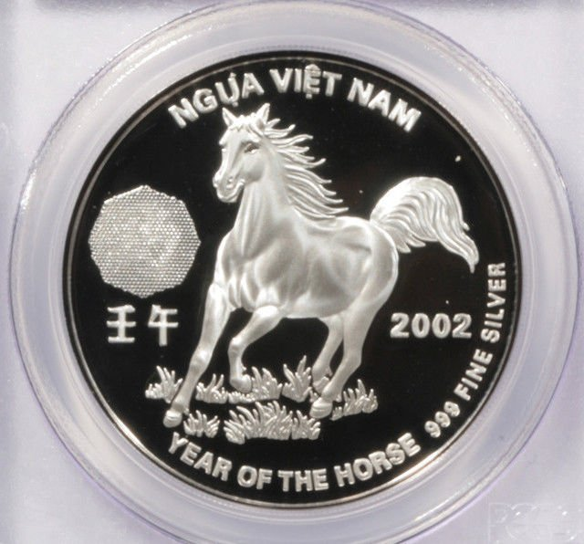 2002 Vietnam 10,000 Dong Silver Proof Coin PCGS PR69DCAM Year of the Horse
