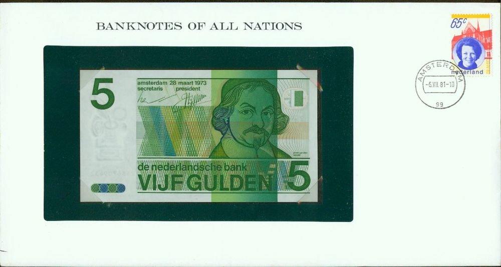 1973 Netherlands 5 gulden Note Pick#95a CRISP UNCIRCULATED ! In Sealed envelope