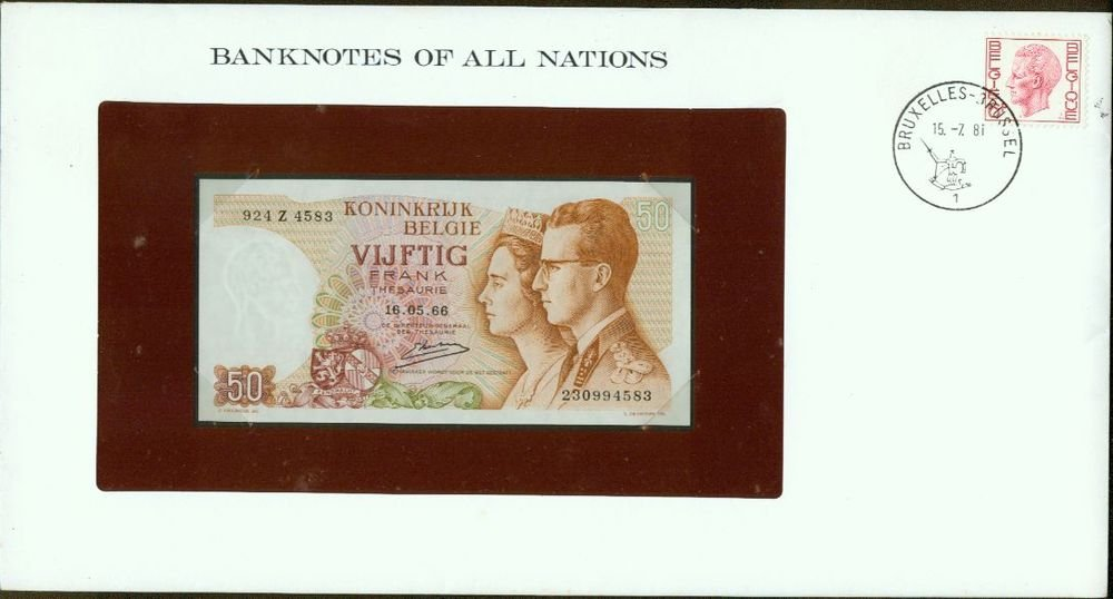 1966 Belgium 50 francs  Note Pick#139 CRISP UNCIRCULATED ! In Sealed envelope