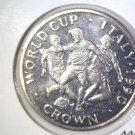 World Cup Soccer 1990 Gibraltar Prooflike One Crown Coin KM#38 Italy