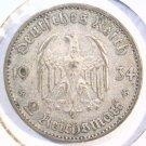 1934 A Germany 2 reichsmark silver coin KM#81 Very Fine 3rd Reich Swastika Nazi
