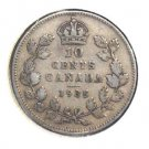 1935 Canada 10 cent silver coin KM#23a Very Fine Condition