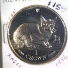 1996 Isle of Man BU Crown Coin Brilliant Uncirculated KM#621 Burmese Cat