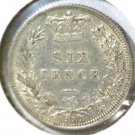 1885 Great Britain Silver 6 pence Coin KM#757 .0895 ASW Queen Victoria Blue Lot