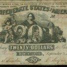 1861 Confederate $20 note Type 20 Fine Condition Confederate States of America