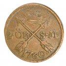 1760 Sweden 2 Ore Coin KM#461   Copper  3.5 grams  #1
