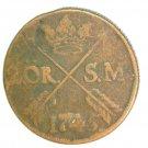 1745 Sweden 2 Ore Coin KM#437   Copper  3.5 grams