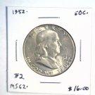 1952 Franklin Silver Half Dollar  Brilliant Uncirculated