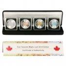 2014 Canada 4 Seasons Silver Maple Set 4 One Ounce Enhanced Silver Coins