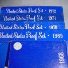 US Proof Sets 1968-1972  5 Sets Original Packaging 3 Silver Kennedy Half Dollars