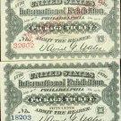1876 Philadelphia World's Fair BLUE/WHITE COMBO Ticket Crisp UNC Red Overprint