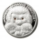 2011 Belarus Silver Proof Hedgehog 20 Ruble Coin Swarovski  .999 Silver Ltd Ed