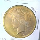Golden Toned ! 1922 Peace Silver Dollar Choice Brilliant Uncirculated