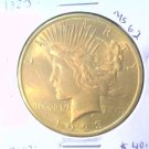 Golden Toned ! 1923 Peace Silver Dollar Choice Brilliant Uncirculated