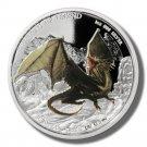 2013 Tuvalu Silver Proof $1 coin Green Dragon  .999 fine silver  OGP & COA