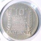1948 B France 10 Francs Coin  KM#909.2  Choice Brilliant UNC  Beautiful Toning