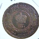 """1864 Canada  One Cent Coin Short """"6""""  KM#6  OLD CLEANING RETONED Victoria"""
