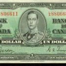 1937 Canada $1 Note Pick 58D Extra Fine Condition Crisp Paper George VI