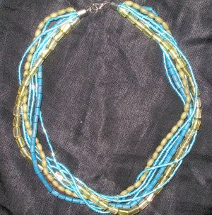 Vintage multi-strand necklace with blue and green beads