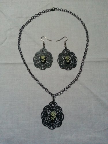Antique Black Cameo Necklace and Earring Set