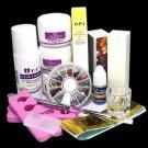 DIY Simple Acrylic Nail Art Tips Kit Liquid Powder Glue Guides Dappen Set Tools
