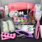 25in1 Nail Art UV Gel Kits UV Lamp Dryer Brush Tips Top Coat Glue Powder Tools
