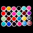 Pro 24 PCS Glass Semi-Transparent Mixed Color UV Builder Gel Nail Art Tips Set