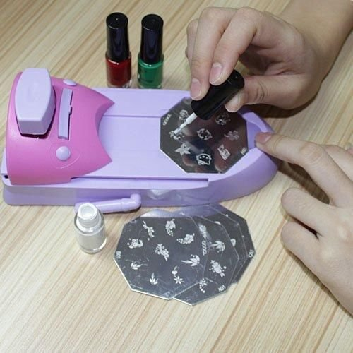Nail Art DIY Color Printing Machine Polish Stamp 6 Pcs Pattern Template Kit Set