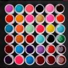 Pro 36 PCS Glass Semi-Transparent Mixed Color UV Builder Gel Nail Art Tips Set