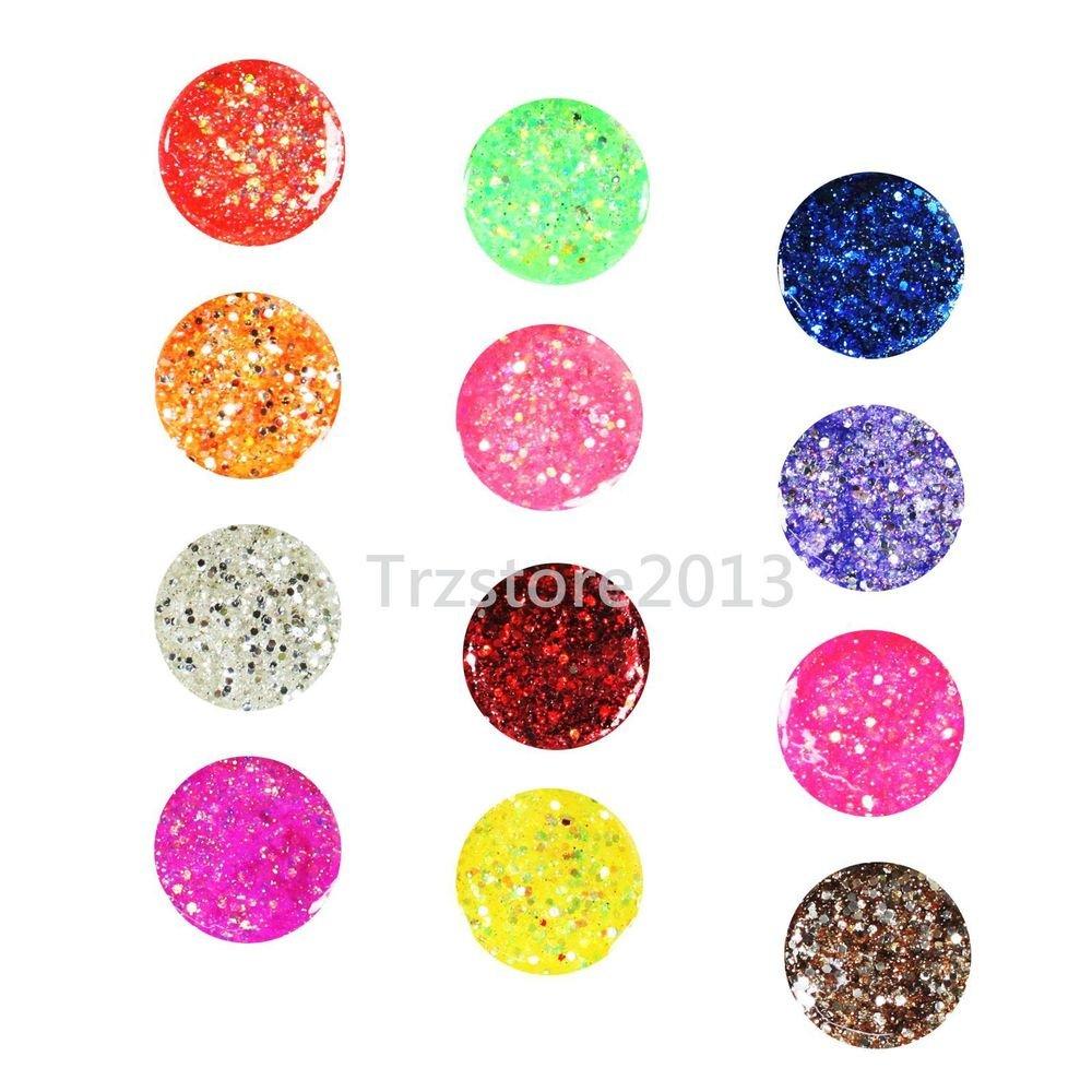 12 PCS Mix Color Hexagon UV Gel Builder Acrylic False Tips Nail Art Kit Set