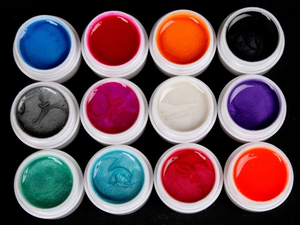 Professional 12 Colors Pearl UV Builder Gel Acrylic Nail Tips Art Beauty Set