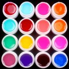 Pro 16 PCS Glass Semi-Transparent Mixed Color UV Builder Gel Nail Art Tips Set