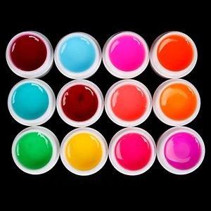 Pro 12 PCS Glass Semi-Transparent Mixed Color UV Builder Gel Nail Art Tips Set