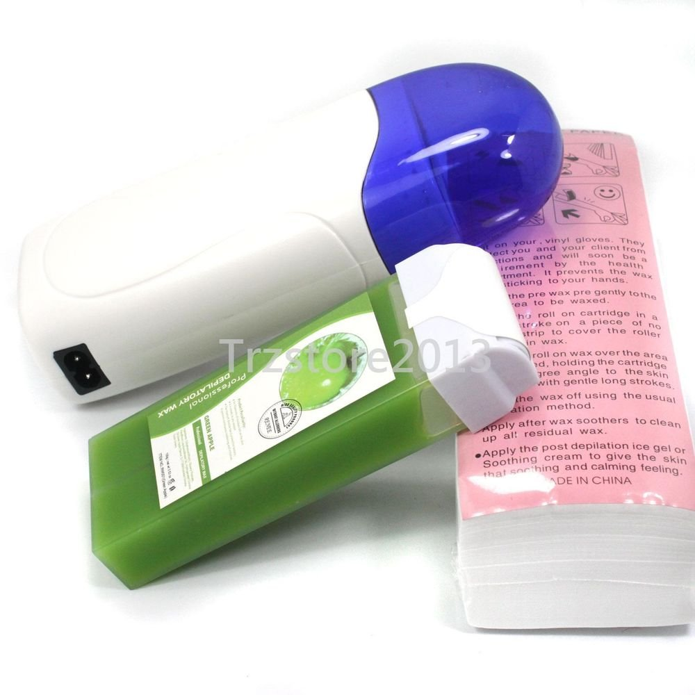 New Roll-On Depilatory Heater Apple Wax Waxing Paper Hair Removal Tool Kit